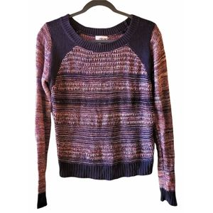 ABOUND Open Knit Cotton Striped Sweater Small